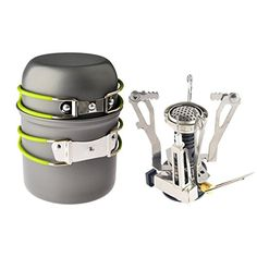 I just bought this and love it. Camp Stove,Petforu Outdoor Camping Stove Cookware Hiking Backpacking Picnic Cookware Cooking Tool Set Pot Pan + Piezo Ignition Canister Stove Propane Canister . you can see what others said about it here http://bridgerguide.com/camp-stovepetforu-outdoor-camping-stove-cookware-hiking-backpacking-picnic-cookware-cooking-tool-set-pot-pan-piezo-ignition-canister-stove-propane-canister/