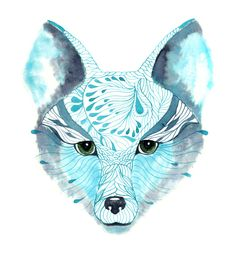 Blue fox Face winter art print, size SALE buy 2 get 1 free Watercolor Stickers, Watercolor And Ink, Watercolor Painting, Bff, Fox Face, Fox Illustration, Illustration Styles, Pet Fox, Fox Print