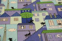 V971 cats Half Yard blue by billycottonshop0413 on Etsy