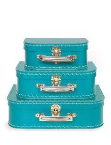 Turquoise suitcase set.