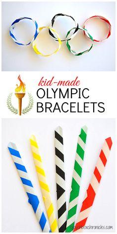 Kid-Made Olympic Origami Bracelets #Olympics #Sochi2014