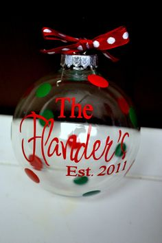MEDIUM Personalized Clear Glass Christmas Ornament. $7.50, via Etsy.