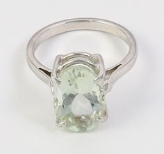 GORGEOUS! NATURAL GREEN AMETHYST GEMSTONE 925 STERLING SILVER JEWELRY RING SZ7.5 #Handmade #Ring