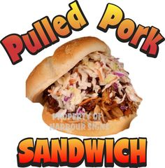 """Pulled Pork Sandwich Decal 14"""" BBQ Barbeque Restaurant Concession Food Truck #HarbourSigns"""