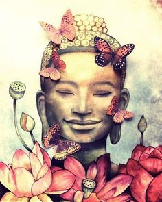 *♥* Smiling Buddha with butterflies by Claudia Tremblay Art Buddha, Buddha Kunst, Buddha Painting, Smiling Buddha, Yoga Kunst, Claudia Tremblay, Buddha Tattoos, Kunst Online, Yoga Decor