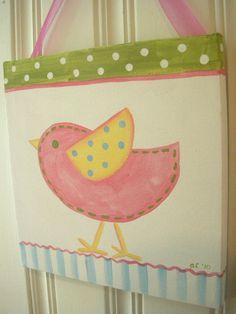 "girls kid room decor..baby nursery wall art..original canvas painting..hand painted artwork..12 x 12 chick bird stripes ""happy chick"". $36.00, via Etsy."