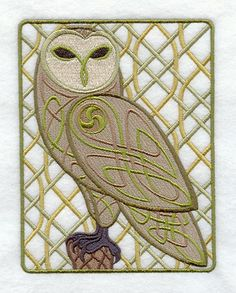 Celtic Knotwork Owl machine embroidery pattern