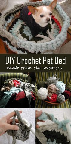 """Turn old sweaters into a crochet sweater pet bed. It is really quite simple.  Gather a bunch of old sweaters. You are going to cut them up, so be sure you are done with them. You can also grab old """"ugly"""" sweaters from thrift stores and garage sales quite inexpensively.  They are perfect for this project and it doesn't matter if they are """"ugly"""" or not! Then cut sweaters into strips and begin crocheting your pet bed!"""