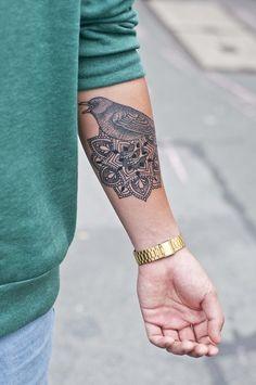 bird and mandala #arm #forearm #tattoos