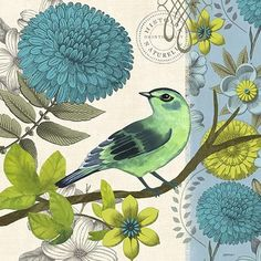 03-2555 - Aviary-Turquoise Bird By Jennifer Brinley