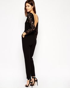 Black Long Sleeve Contrast Lace Jumpsuit - Fashion Clothing, Latest Street Fashion At Abaday.com