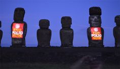 These Easter Island gods are decorated to show the RI theme for Community Service Volunteers, End Polio Now, Polio Eradication, Easter Island Statues, Rotary Club, Chicago Usa, United Way, Light Up, Charity