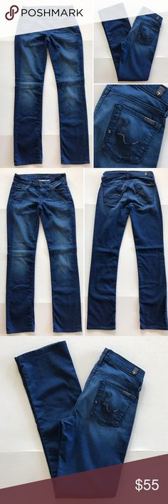 """[7forallmankind] women's denim jeans 25 [7forallmankind] women's straight leg denim jeans 25 •🆕listing •good pre-owned condition •length 31.5"""" •flat front waist measures about 154"""" •material 98% cotton 2% spandex •offers and bundles welcomed using the features••• 7 For All Mankind Jeans Straight Leg"""