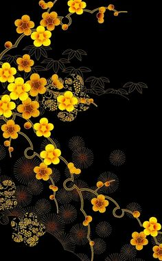 Would love to win the gift card black color in japanese - Black Things Japanese Patterns, Japanese Prints, Japanese Design, Mellow Yellow, Black N Yellow, Color Yellow, Yellow Flowers, Black Gold, Cute Wallpapers