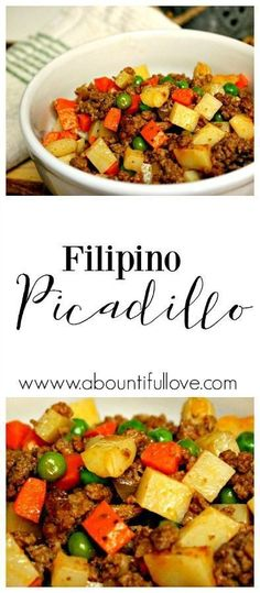 Here's an easy and super budget friendly recipe that I cook for my family that never fails to remind me of my home. Just a few ingredients and it doesn't involve hard to find ingredients. We love having this Filipino Picadillo recipes over our rice! Picadillo Recipe Filipino, Filipino Recipe For Pork, Best Filipino Recipes, Beef Picadillo, Pork Recipes, Asian Recipes, Cooking Recipes, Healthy Recipes, Ground Beef
