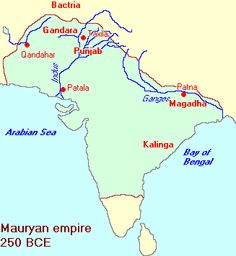 220 BC: the Maurya dynasty under Ashoka's son Bindusara expands to almost all of India