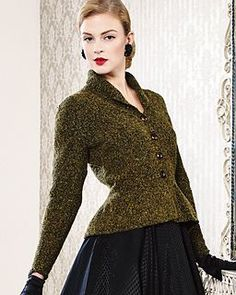 The Cover Model of the magazin is an updated version of a 1950's jacket- with shawl collar, fitted waist and peplum.