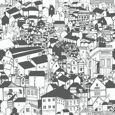 Lissabon Black & White wallpaper by Eco Wallpaper