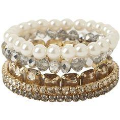 5 Piece Beaded Bracelets Set Women George at Asda ($9.06) ❤ liked on Polyvore