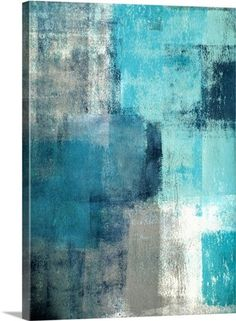Selected - Modern teal and gray abstract painting