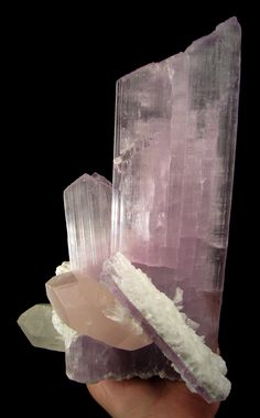Kunzite with Morganite and Quartz