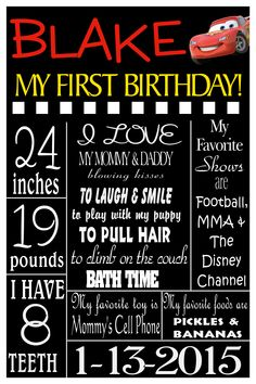 """36""""x24"""" My First Birthday Cars Poster.  Please follow me on FB by clicking on the picture"""