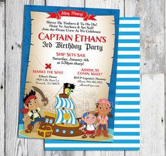 Jake and the Neverland Pirates Invitations: Printable Boys Custom Pirate Birthday Party Invitation, FREE BACK. ~Click to see printables too~ by thepartystork on Etsy https://www.etsy.com/listing/163889692/jake-and-the-neverland-pirates