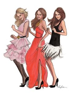 Oscar weekend calls for a sketch of ladies dancing in Oscar (de la renta) gowns…  Inslee