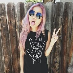 Talk to the palm t shirt // pastel pink hair