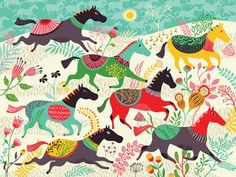 """Wild Horses"" wall decor for children by Helen Dardik for Oopsy Daisy, Fine Art for Kids $119"