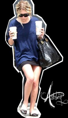 Ashley Olsen goes for a coffee run in a simple chic look. #style #fashion #olsentwins
