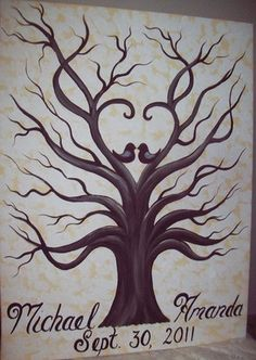 I love the love birds and hearts on this wedding tree