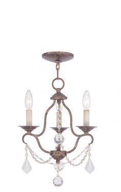 Three Light Venetian Golden Bronze Up Chandelier | Chester Lighting and Supply