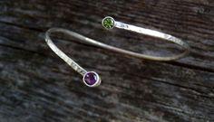 Sterling amethyst and peridot bangle bracelet / by EmmyBean