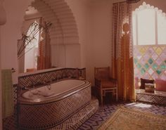 One of the bathrooms in the house of Mr. in Marrakech, Morocco Bathroom Inspo, Bathroom Inspiration, Interior Inspiration, Moroccan Design, Moroccan Decor, Palace, Moroccan Bathroom, Best Bathtubs, Tire Swings