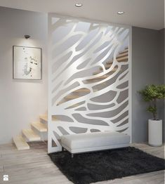Laser panal, Wall decal from steel Design wall decoration, Metal Wall Art, Modern Home Decoration. Glass Partition Designs, Living Room Partition Design, Living Room Divider, Living Room Decor, Wall Decor Design, Office Furniture Design, Decorative Panels, Staircase Design, Hallway Decorating