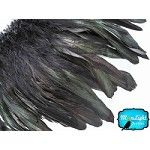4 Inch Strip - BLACK Dyed Schlappen Strung Rooster Feathers