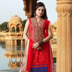 Red Net Readymade Kameez with Palazzo