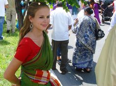 Cute young white girl in saree