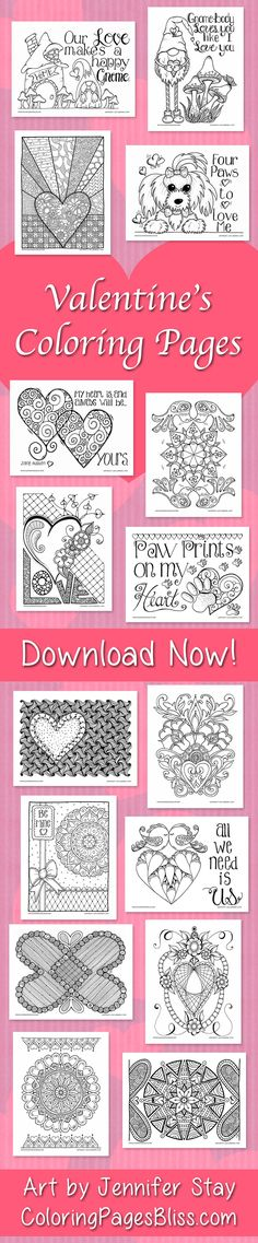 Valentine's Day Coloring Pages for adults. Use your colored pencils, gel pens and Sharpie markers on these downloadable coloring pages. You'll have fun with these printable Valentines drawn by artist Jennifer Stay. Visit ColoringPagesBliss.com to download over 200 hand drawn coloring pages for all holidays and seasons.