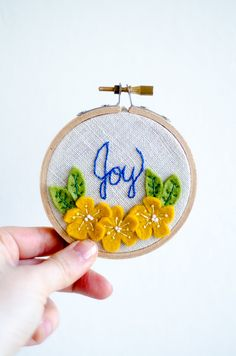 Joy Yellow Flowers Embroidery Hoop Art by ShopHedgerowRose on Etsy