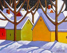 PAINTING Original 12x16 Winter Road Night Moon by SoloWorkStudio