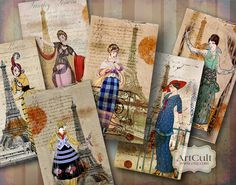 OLALA - Digital Collage Sheet Printable Gift tags Jewelry holders vintage paper craft scrapbooking