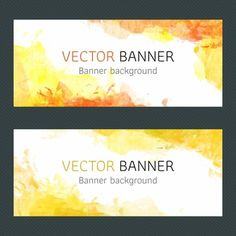 Yellow watercolor banners design