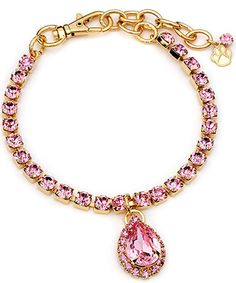 Pet Necklace With Gold/Pink Pear Pendant Australian Crystals Sparkly 14KT Gold Plate  $49.99