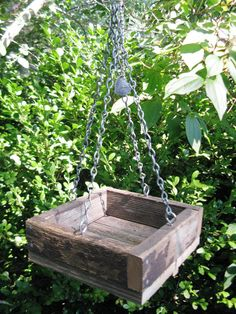 Rustic Love  Wood Bird Feeder Natural Recycled by gardenfinds, $30.00