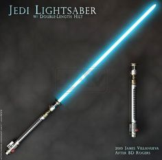 BD Rogers Jedi Lightsaber by JamesVillanueva Double Lightsaber, Jedi Lightsaber, Lightsaber Design, Custom Lightsaber, Sci Fi Weapons, Fantasy Weapons, Fantasy Armor, Star Wars Rpg, Star Wars Jedi