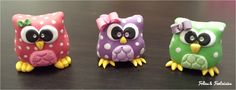 Polymer clay owls for keys Folies & Fantaisies