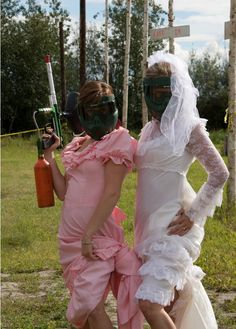 Find the worst bridesmaids dress you can find. Then play paintball for a combined daytime bachelorette and bachelor party...if UK party is over a weekend get balloons of paint in a field with everyone for a fun afternoon