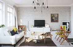 Scandinavian apartment design in white - Decoist Accent Walls In Living Room, Living Room Interior, Living Room Decor, Living Rooms, Apartment Interior, Apartment Living, White Wood Floors, White Brick Walls, Wood Flooring